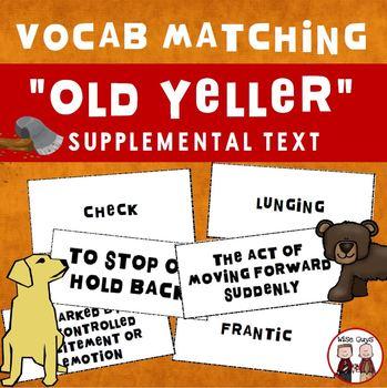 Old Yeller Key Vocabulary Matching Game Journeys Supplemen