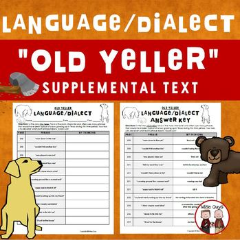 Old Yeller Language Dialect Activity Journeys Supplemental