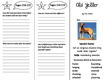 Old Yeller Trifold - Journeys 5th Grade Unit 2 Week 2 (201