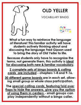 Old Yeller Vocabulary Bingo