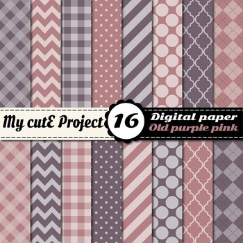Old pink & Purple DIGITAL PAPER - Scrapbooking- A4 & 12x12