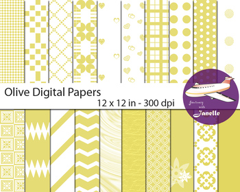 Olive Digital Papers for Backgrounds, Scrapbooking and Cla