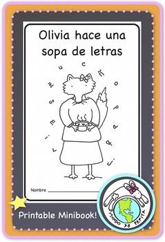 Olivia hace una sopa de letras Spanish Alphabet Printable