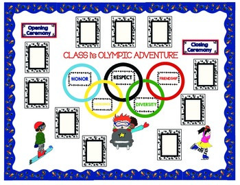 Olympic Bulletin Board Theme - Borders, Clip art and frame