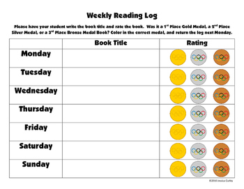 Olympic Reading Log