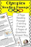 Olympic Reading Passage includes writing prompts and questions