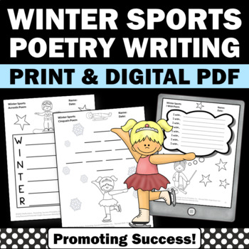 Poetry Unit Writing Activities with Winter Olympics Sports Theme