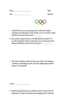Olympics-Themed Math Word Problems
