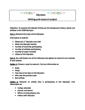 Olympics writing project