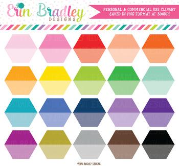 Ombre Hexagon Clipart Shapes