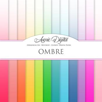 Ombre Solid Digital Paper patterns block colors gradient s