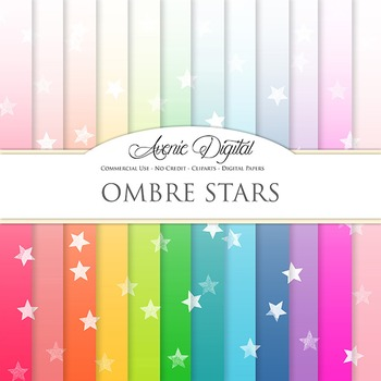 Ombre Stars Digital Paper star patterns block gradient scr