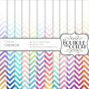 Ombre chevron Digital Paper, scrapbook backgrounds
