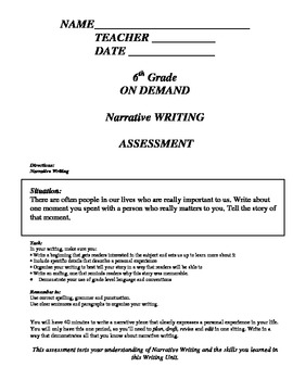 On Demand Writing Assessments Narrative, Informational, Pe