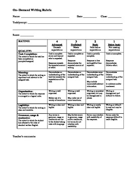 On Demand Writing Rubric with Conversion Chart