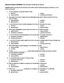 """On Dumpster Diving"" Quiz"