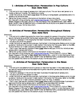 On-Going Research: Persecution and Revolution Instructions