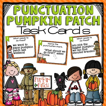 Fall Themed Punctuation and Capitalization Task Cards More!