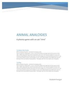 On-Set Rime: Animal Analogy Phonics Game