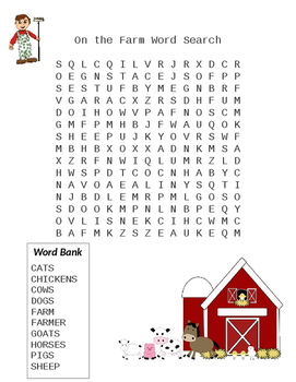 On The Farm Word Search