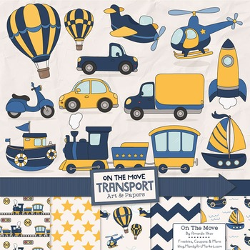 On The Move Blue & Yellow Transportation Clipart & Patterns