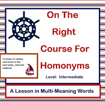 On The Right Course With Homonyms - Intermediate Level