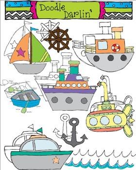 On The Sea Transportation Clipart COMBO