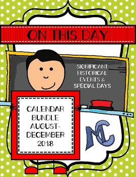 On This Day August-December 2016 Calendar Bundle