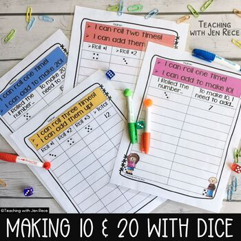 Making 10 and Making 20: Dice Math Worksheets - Common Cor
