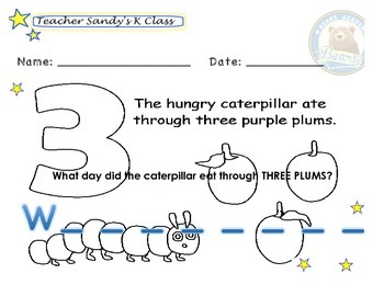 On the 3rd day, the very hungry caterpillar ate through...