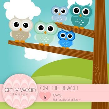 On the Beach - Owl Clip Art