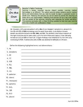On the Case: Scenarios in Medical Terminology, Case #1