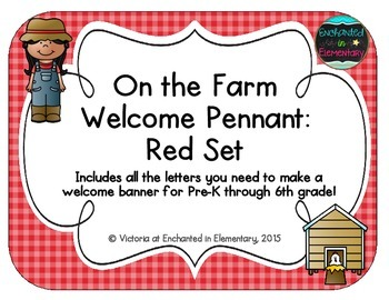 On the Farm Welcome Pennant: Red Set