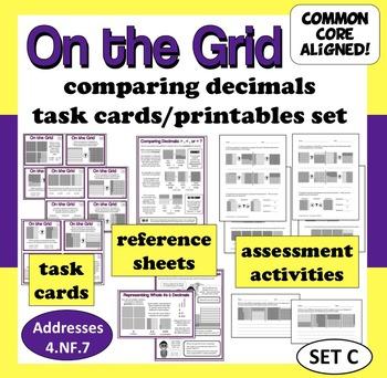 On the Grid - comparing decimals task cards & printables (set c)