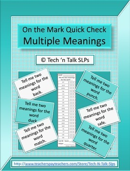 On the Mark Quick Check Multiple Meanings