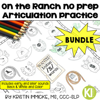 On the Ranch No Prep Articulation Practice - BUNDLE