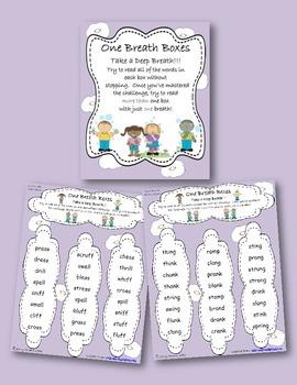 One Breath Boxes- Fluency/Decoding- Bonus Letter, Blends,