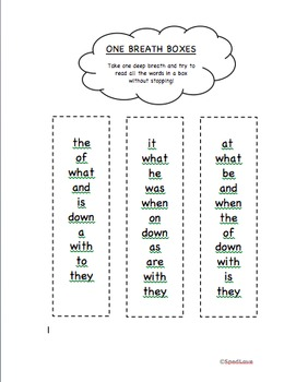 One Breath Boxes Sight Word Practice