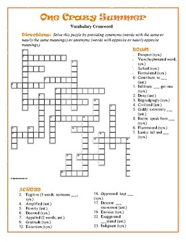 One Crazy Summer: Syn./Ant. Crossword--Pair w/Bookmarks Plus!