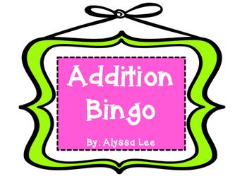 One-Digit Addition Bingo