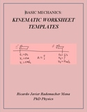 One Dimensional Kinematic Worksheet Templates