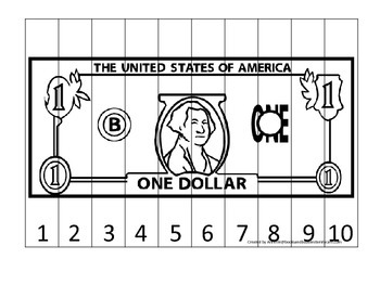 One Dollar Bill 1-10 Number Sequence Puzzle. Financial edu
