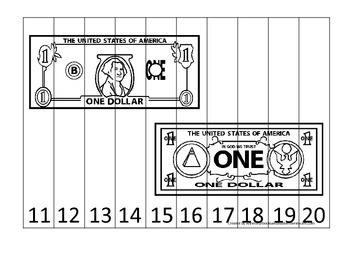 One Dollar Bill 11-20 Number Sequence Puzzle. Financial ed