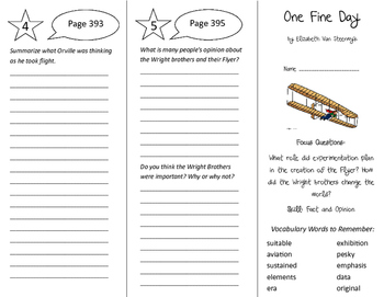 One Fine Day Trifold - Imagine It 6th Grade Unit 4 Week 1