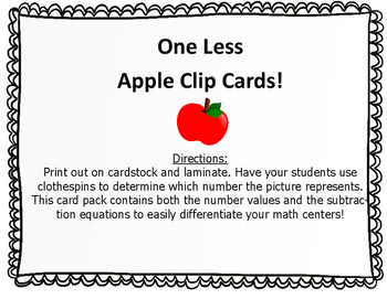One Less Apple Clip Cards