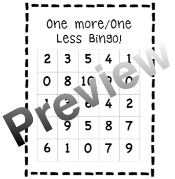 One More / One Less Bingo 0-20