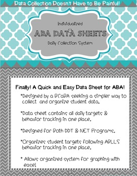 One Page Daily ABA Data Sheet- Using ABLLS