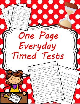 One Page Everyday Timed Tests Multiplication and Division