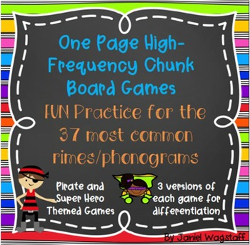 One Page Phonics Games: High Frequency Chunks Rimes Phonog