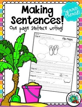 One Page Sentence Writing Process/Summer Theme